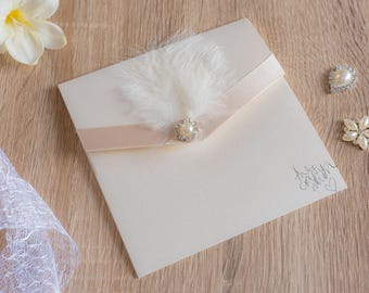 Handmade Pocketfold Wedding Invitations Feather&Pearl