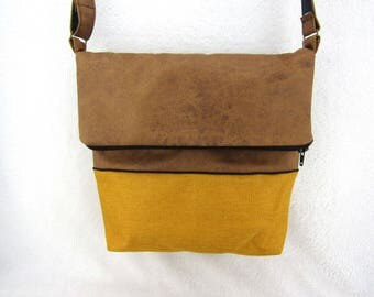 Origami caramel/weave border and mustard yellow leather bag black