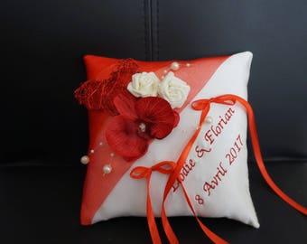 Ivory and Red cushion