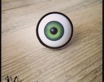 """Ring """"Doll eye"""" green bronze"""