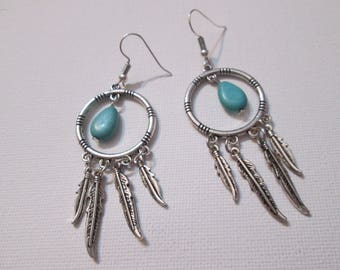 turquoise bead and silver feather earrings