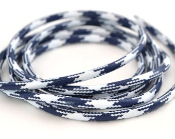 Blue and white waxed cord 3mm marine style polyester