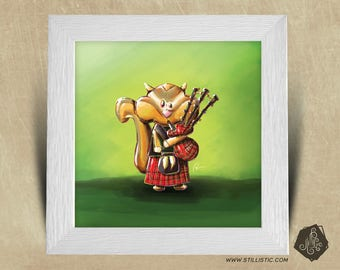 Frame square 25 x 25 Christmas gift with bagpipes nursery kids baby squirrel Illustration