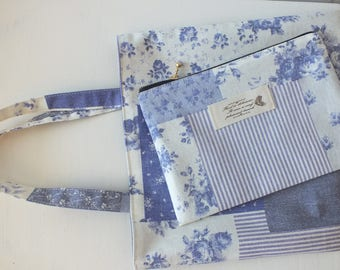 Tote bag and pouch set of linen and cotton flowers.