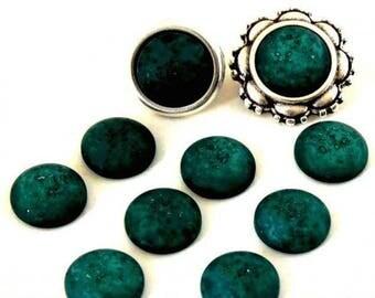 Cabochon resin - Matte color - circular (12mm) - soft green - CABSYRD1217VE0206