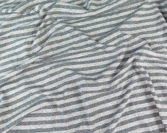 Italian Blue/Grey Stripe Jersey Knit Fabric
