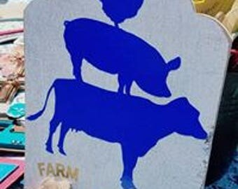 Farm Fresh Pig/Chicken/Cow Wood and Vinly Sign