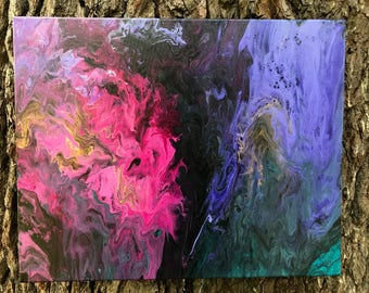 Abstract Fluid Painting: Magenta, Purple, Black & Teal - 16x20