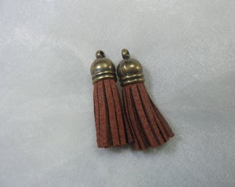 2 charms 3.7 cm antique bronze brown suede tassels