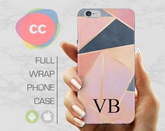iPhone 8 Case - Custom Personalised Initials Polygon Phone Case - iPhone 7 Case - iPhone 6 Case - iPhone 6, 5S - Samsung S6, S7, S8 - PC-317