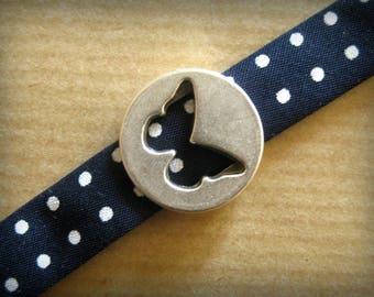 Blue polka dot Ribbon & Butterfly bracelet