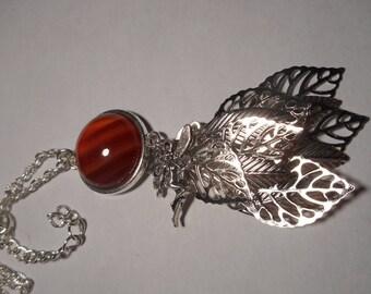 Carnelian cabochon silver necklace