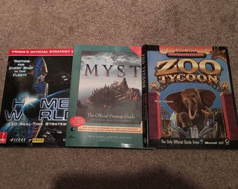 Myst Strat Guide + 2 Others & 15 PC Games Lot *Look* Classics 1990's CD / DVD