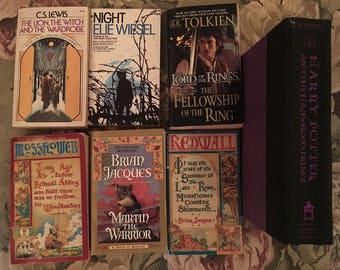 Harry Potter HalfBlood Prince, Redwall, Lord of the Rings, Lion Witch 7 Book Lot