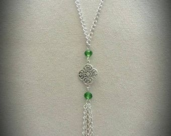 Faceted silver chain necklace Green