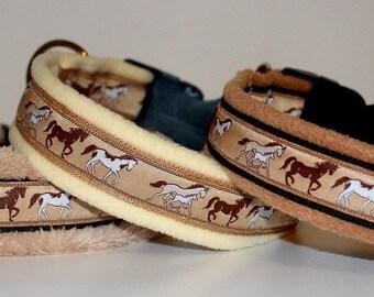 "Dog Collar Jacquard Ribbon Elegant ""Horses"" Pet Accessories Design"