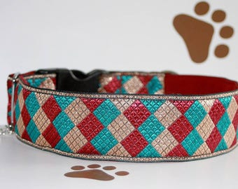 "Dog collar ""Miss Turquoise"" Jacquard ribbon in unique colourful #Cubic# style for Pet accessories Fashion"