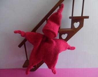 Pink knit girl Pixie Plushie