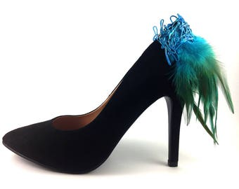 Shoe Clips - Green and Blue Feather Shoe Clips - Sterling Silver Blue - Feather Shoe Clips - Shoe Jewelry - Shoe Jewellery - GBL001