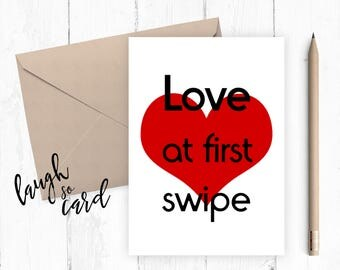 Funny birthday card,Anniversary Card Engagement  Boyfriend Card, Girlfriend card, funny card, funny : Love at first swipe