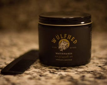 Water-based hair pomade, vegan friendly, small batch by Wulfhed