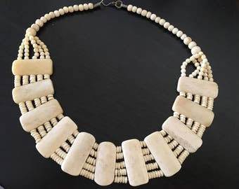 Classy vintage bone necklace.