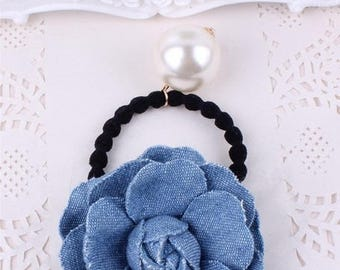hair accessories, elastic with light denim and White Pearl flower
