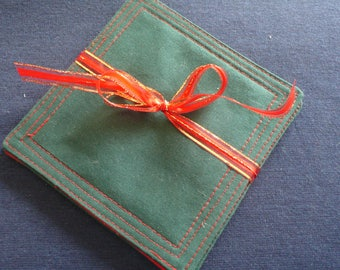 Quilted Coasters in Green and Red - Christmas Gift, Holiday Gift, Hostess Gift - set of 4