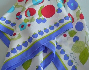 """Vintage Echo Silk Scarf, Made in Japan, Blue, White, Aqua, Red - Approx 24"""" x 24"""""""