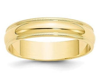 New Solid 14k Yellow Gold Milgrain 6mm Wedding Band Sizes from 4 - 14. Solid Stamped 14k Yellow Gold, Made in the U.S.A.