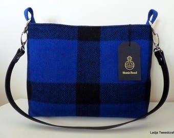 Harris Tweed Small Shopping Bag - Bright Blue & Black Check