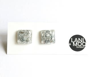 Square Clear Resin Stud Metallic Silver Leaf Statement Earrings!