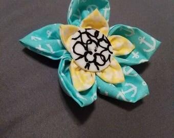 BLue/Yellow Flower clip