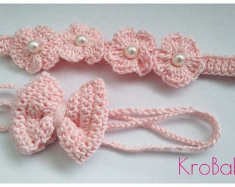 Set of 2 pink crochet headbands PALEA