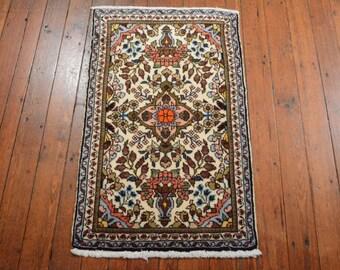 Vintage Persian Sarouk Rug, 1'10''x3', Ivory/Ivory, All wool pile