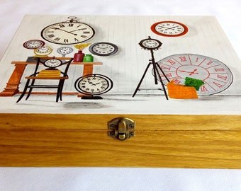 Hand-painted vintage watch box, Wooden box for 12 watches, Unisex watch box, Valentine's gift, Mother's day gift