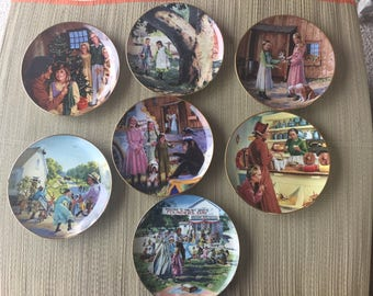 Lot of 8 Little House on the Prairie Collector's Plates Porcelain Plates Depicting the Pioneer's Life All Very Good Except One is Chipped