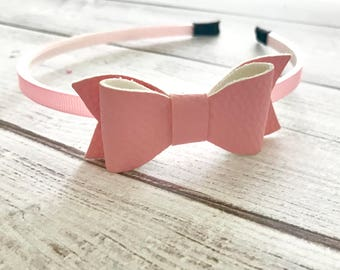 Pink Bow Headband Hairpiece, Headband, Girls Gift, Baby Shower, Back to School, Everyday Wear, Hair Band for Girls Holiday Card