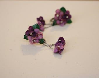 Purple floral dangle earrings