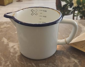 Vintage Dutch white  Enamel Measuring Cup Early 1950s