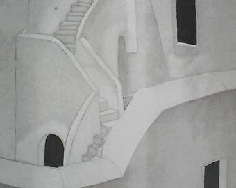 Map picture - watercolor on silk - stairs village Santorini, Greece