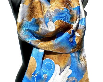 Scarf - scarf - shawl handpainted - creating a crepe-satin - Limoges blue, white, Brown