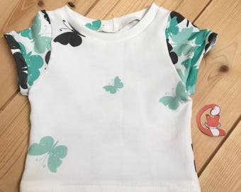 T shirt baby turquoise Butterfly motif