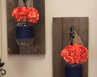 Denim and Orange Hanging Lanterns