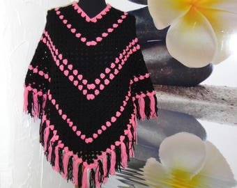 Pink and Black wool poncho with fringe