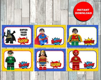 50% OFF Lego Superhero Printable Cards, tags, book labels, stickers, kids cards, gift tags, labeling, scrapbooking - type your own text