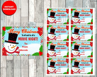 Printable Snowman Redbox Gift Tag, Christmas Redbox Gift Tag - Merry Christmas and to all a MOVIE NIGHT - Instant Download