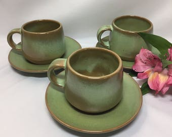 Frankoma Westwind Prairie Green Coffee Cups and Saucers / set of 3