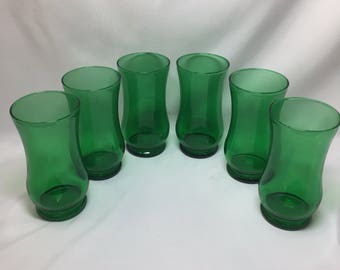 Anchor Hocking Forest Green Tumblers Drinking Glasses - set of 6