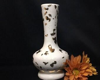 Vintage White and Gold Textured Mid Century Bud Vase